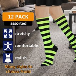 12 Units of Womens Knee High Socks Assorted Colors, Cotton Boot Socks Assorted Colorful Stripes - Womens Knee Highs