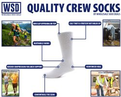 6 Units of Yacht & Smith Men's Loose Fit NoN-Binding Soft Cotton Diabetic Crew Socks Size 10-13 Black - Men's Diabetic Socks
