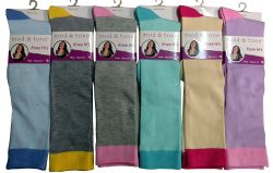 6 Units of Woman Solid Color Knee High Socks Size 9-11 - Womens Knee Highs