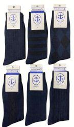 60 Units of Yacht & Smith Men's Navy Textured Dress Socks Size 10-13 - Mens Dress Sock