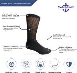 6 Units of Yacht & Smith Men's Loose Fit Non-Binding Soft Cotton Diabetic Crew Socks Size 10-13 White - Men's Diabetic Socks