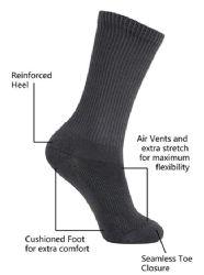 12 Units of Yacht & Smith Kids Cotton Crew Socks Black Size 6-8 - Girls Crew Socks