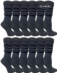 12 Units of Yacht & Smith Womens Cotton Slouch Socks, Womans Knee High Boot Socks (black, 12 Pack) - Womens Crew Sock