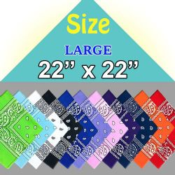 120 Units of Assorted Cotton Bandana Mixed Prints, Mixed Colors Mix Styles Bulk Bandannas - First Aid and Hygiene Gear