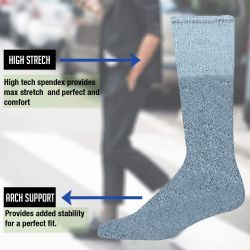 12 Units of Yacht & Smith Men's 31 Inch Cotton Terry Cushioned Athletic Gray Tube Socks-King Size 13-16 - Mens Ankle Sock