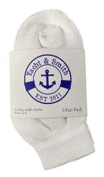 72 Units of Yacht & Smith Kids Value Pack of Cotton Ankle Socks Size 2-4 White - Boys Ankle Sock
