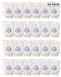 24 Units of Yacht & Smith Kids Value Pack Of Cotton Crew Socks Size 2-4 White - Boys Crew Sock