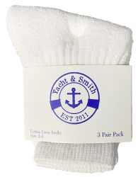 36 Units of Yacht & Smith Kids Value Pack of Cotton Crew Socks Size 2-4 White - Boys Crew Sock