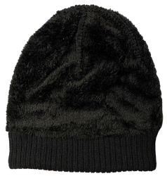 24 Units of Yacht & Smith Unisex Black Stretch Ribbed Sherpa Beanie, Super Warm Winter Beanie - Winter Beanie Hats