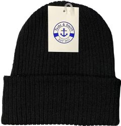 12 Units of Yacht & Smith Unisex Sherpa Line Ribbed Faux Fur Winter Beanie Hat Solid Black - Winter Beanie Hats
