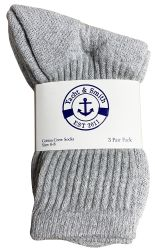 24 Units of Yacht & Smith Kids Cotton Terry Cushioned Crew Socks Gray Size 6-8 - Boys Crew Sock