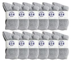 12 Units of Yacht & Smith Kids Cotton Crew Socks Gray Size 6-8 - Girls Crew Socks