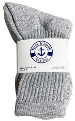 24 Units of Yacht & Smith Kids Cotton Crew Socks Gray Size 6-8 - Girls Crew Socks