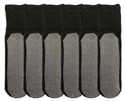 6 Units of Yacht & Smith Mens Loose Fit Gripper Bottom NoN-Skid Slipper Socks ,yoga, Trampoline Socks Solid Black - Mens Crew Socks