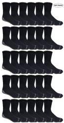 120 Units of Yacht & Smith Mens Loose Fit Gripper Bottom NoN-Skid Slipper Socks ,yoga, Trampoline Socks Solid Black - Mens Crew Socks