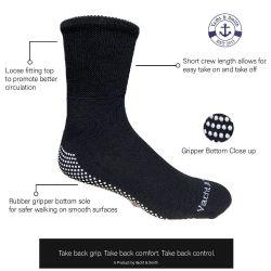 60 Units of Yacht & Smith Mens Loose Fit Gripper Bottom NoN-Skid Slipper Socks ,yoga, Trampoline Socks Solid Black - Mens Crew Socks