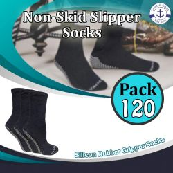 120 Units of Yacht & Smith Womens Loose Fit Gripper Bottom Diabetic NoN-Skid Slipper Black Socks, Grippy Hospital Sock, Size 9-11 - Women's Diabetic Socks