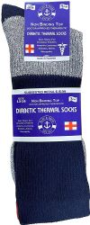 6 Units of Yacht & Smith Thermal Diabetic Crew Socks For Men, Marled, Ringspun Cotton, Seamless Toe, Loose Top - Men's Diabetic Socks