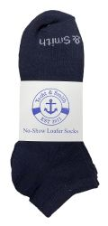 48 Units of Yacht & Smith Kids Unisex Low Cut No Show Loafer Socks Size 6-8 Solid Navy - Girls Ankle Sock