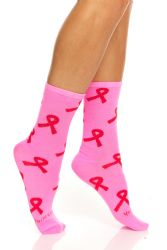 36 Units of Pink Ribbon Breast Cancer Awareness Crew Socks For Women Size 9-11 - Breast Cancer Awareness Socks