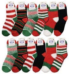 12 Units of Yacht & Smith Christmas Fuzzy Socks , Soft Warm Cozy Socks, Size 9-11 - Womens Fuzzy Socks