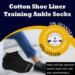 24 Units of Yacht & Smith Wholesale Boys and Girls 97% Cotton Shoe Liner Training Socks Size 6-8, No Show Thin Low Cut Sport Ankle Socks (Assorted, 24) - Girls Ankle Sock