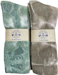 6 Units of 6 Pairs of Womens Tie Dye Cotton Colorful Soft Crew Socks, Bright Colorful Boot Sock, Bulk - Mens Crew Socks