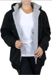 12 Units of Women's Loose Fit Oversize Full Zip Sherpa Lined Hoodie Fleece - Black Size Small - Womens Sweaters & Cardigan