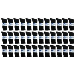 36 Units of Yacht & Smith Men's Loose Fit NoN-Binding Soft Cotton Diabetic Crew Socks Size 10-13 Black - Men's Diabetic Socks