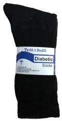3 Units of Yacht & Smith Men's King Size Loose Fit NoN-Binding Cotton Diabetic Crew Socks Black Size 13-16 - Big And Tall Mens Diabetic Socks