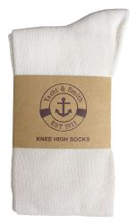 12 Units of Yacht & Smith 90% Cotton White Knee High Socks For Girls - Girls Knee Highs