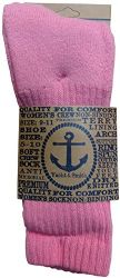 6 Units of Womens AntI-Microbial Crew Socks, Comfort Knit Ringspun Cotton, Terry Lined, Soft (6 Pack Pink) - Womens Crew Sock