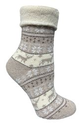 24 Units of Yacht & Smith Womens Thick Soft Knit Wool Warm Winter Crew Socks, Patterned Lambswool, FAIR ISLE PRINT - Womens Thermal Socks