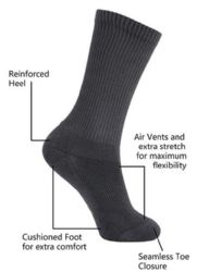 36 Units of Yacht & Smith King Size Men's Crew Socks Cotton Terry Cushioned Solid Black Size 13-16 - Big And Tall Mens Crew Socks