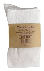 6 Units of Yacht & Smith Womens Knee High Socks, Solid White 90% Cotton Size 9-11  - Womens Knee Highs