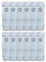 12 Units of Yacht & Smith Men's King Size 31 Inch Cotton Terry Cushioned Athletic Tube SockS- 13-16 Solid White - Big And Tall Mens Tube Socks