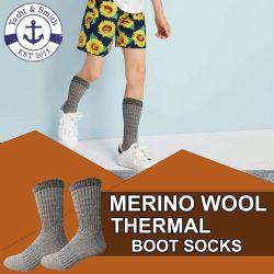 4 Units of Yacht & Smith Unisex Kids Merino Wool Thermal Hiking Camping Socks , Size 6-8 - Boys Crew Sock