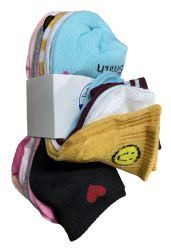 120 Units of Yacht & Smith Assorted Pack Of Girls Low Cut Printed Ankle Socks Bulk Buy - Girls Ankle Sock