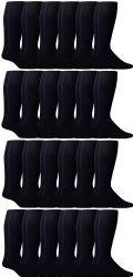 24 Units of Yacht & Smith Men's Navy Cotton Terry Athletic Tube Socks, Size 10-13 - Mens Tube Sock