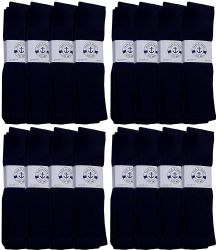 48 Units of Yacht & Smith Men's Navy Cotton Terry Athletic Tube Socks, Size 10-13 - Mens Tube Sock