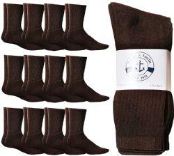 24 Units of Yacht & Smith Women's Sports Crew Socks, Size 9-11, Brown - Womens Crew Sock