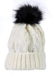 "Yacht & Smith Womens Pom Pom Beanie Hat, Winter Cable Knit Hat, Warm Cap, 3"" Poms White - Winter Beanie Hats"