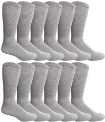 12 Units of Yacht & Smith Women's Cotton Diabetic NoN-Binding Crew Socks - Size 9-11 Gray - Women's Diabetic Socks