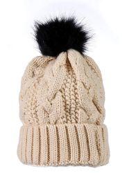 """Yacht & Smith Womens Pom Pom Beanie Hat, Winter Cable Knit Hat, Warm Cap, 3"""" Pom Beige - Winter Beanie Hats"""