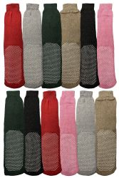 48 Units of Yacht & Smith Non Slip Gripper Bottom Womens Winter Thermal Slipper Tube Socks Size 9-11 - Womens Thermal Socks
