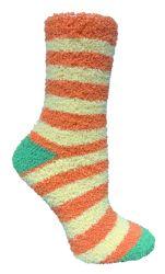120 Units of Yacht & Smith Women's Fuzzy Snuggle Socks , Size 9-11 Comfort Socks Assorted Stripes - Womens Fuzzy Socks
