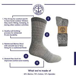 60 Units of Yacht & Smith Kids Merino Wool Thermal Winter Camping Boot Socks - Boys Crew Sock
