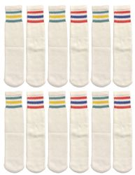 120 Units of Yacht & Smith Kids Cotton Tube Socks Size 6-8 White With Stripes Bulk Pack - Boys Crew Sock