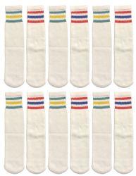 240 Units of Yacht & Smith Kids Cotton Tube Socks White With Stripes Size 4-6 Bulk Pack - Boys Crew Sock
