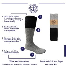 60 Units of Yacht & Smith Mens Cotton Thermal Tube Socks, Cold Weather Boot Sock Shoe Size 8-12 - Mens Thermal Sock